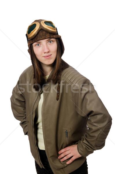 Mulher piloto isolado branco cara moda Foto stock © Elnur