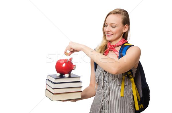 Stock fotó: Fiatal · diák · izolált · fehér · mosoly · könyvek