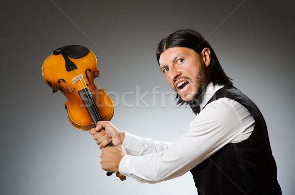 Hombre jugando violín musical arte funny Foto stock © Elnur