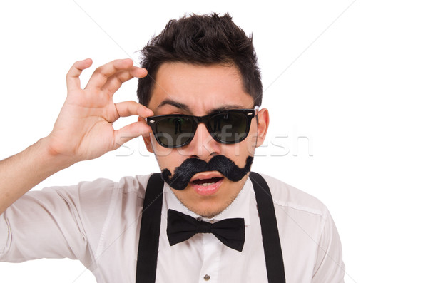 Young man with moustache isolated on white Stock photo © Elnur