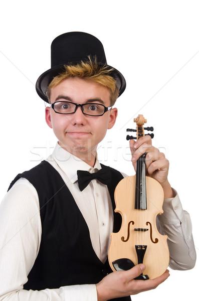 Komik keman oyuncu yalıtılmış beyaz adam Stok fotoğraf © Elnur