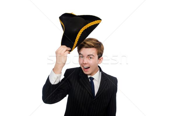 Fiatalember jelmez kalóz kalap izolált fehér Stock fotó © Elnur