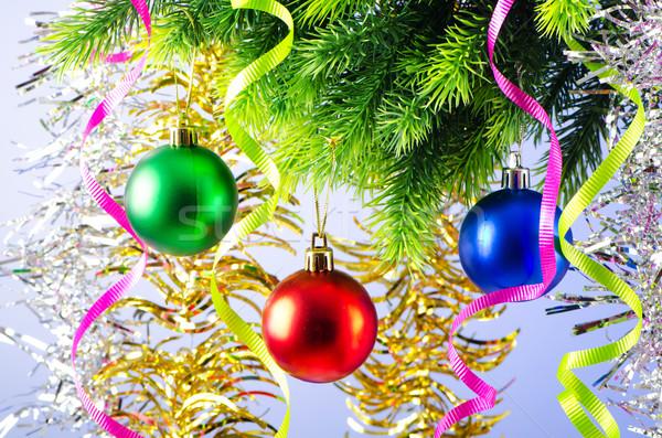 Karácsony dekoráció fenyőfa háttér űr labda Stock fotó © Elnur