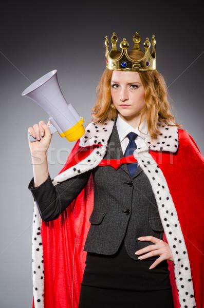 Kraliçe işadamı komik kadın çalışmak Stok fotoğraf © Elnur