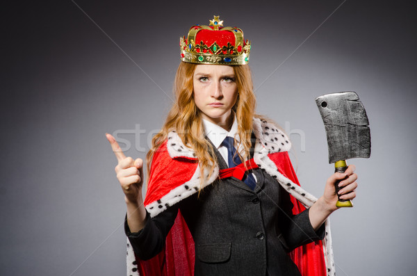 Stock photo: Woman queen businesswoman with axe
