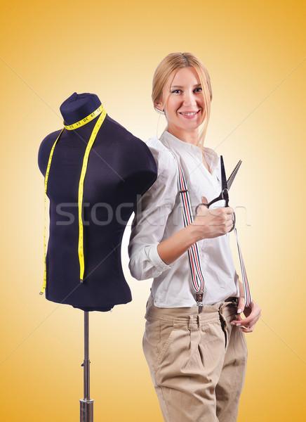 Kadın terzi çalışma elbise kız çalışmak Stok fotoğraf © Elnur