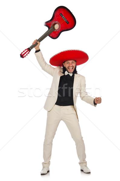 Grappig Mexicaanse pak gitaar geïsoleerd Stockfoto © Elnur