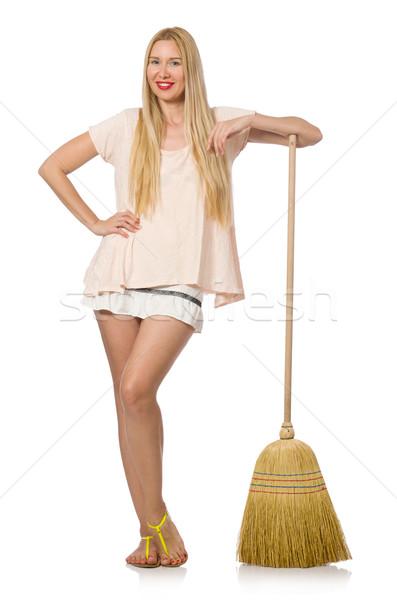 Jeune femme balai isolé blanche femme maison Photo stock © Elnur