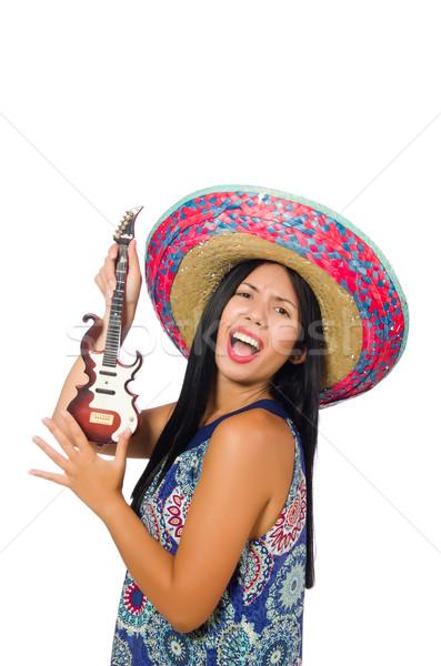 Genç geniş kenarlı şapka beyaz müzik Stok fotoğraf © Elnur