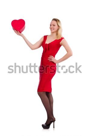 Woman in saint valentine concept on white Stock photo © Elnur