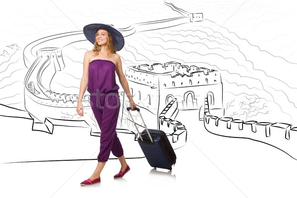 The young woman travelling to china to see great wall Stock photo © Elnur