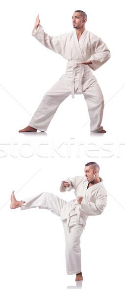 Kollázs karate játékos kimonó izolált fehér Stock fotó © Elnur