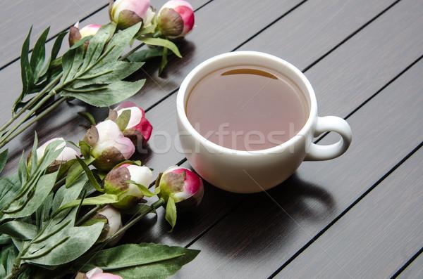 Copo chá catering flores folha vidro Foto stock © Elnur