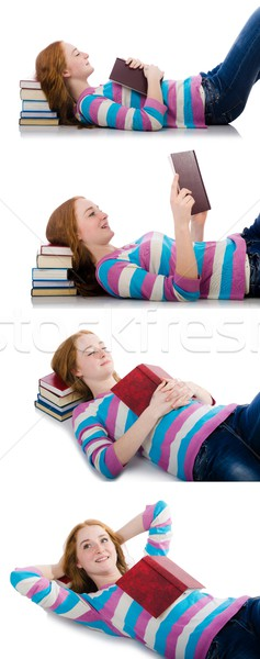 Stock photo: Young student with books isolated on white