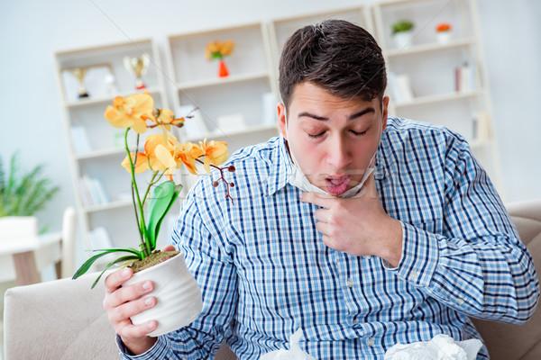 Homem sofrimento alergia médico flor comida Foto stock © Elnur