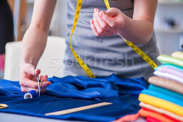 Nő szabó dolgozik ruházat varr mér Stock fotó © Elnur