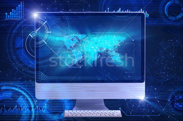 Képernyő üzlet számítógép földgömb billentyűzet Föld Stock fotó © Elnur