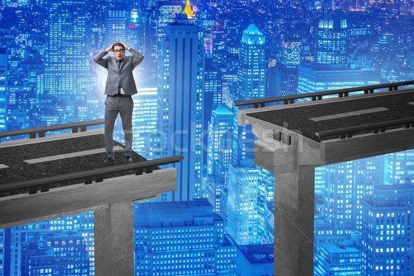小さな ビジネスマン 不確実性 橋 ビジネス 道路 ストックフォト © Elnur