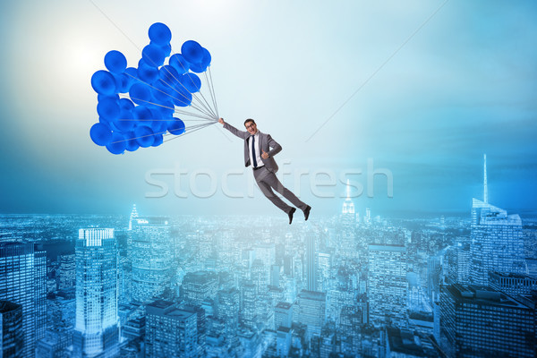 商人 飛行 氣球 挑戰 城市 金融 商業照片 © Elnur