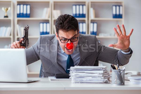 Payaso empresario de trabajo oficina enojado frustrado Foto stock © Elnur