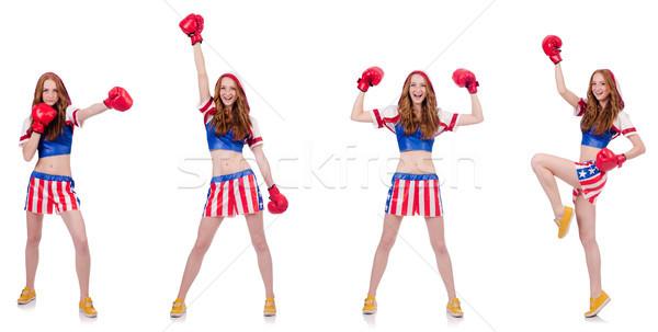 Woman boxer in uniform with US symbols Stock photo © Elnur