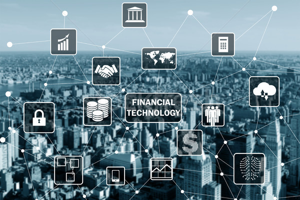 The smart city concept with fintech financial technology concept Stock photo © Elnur