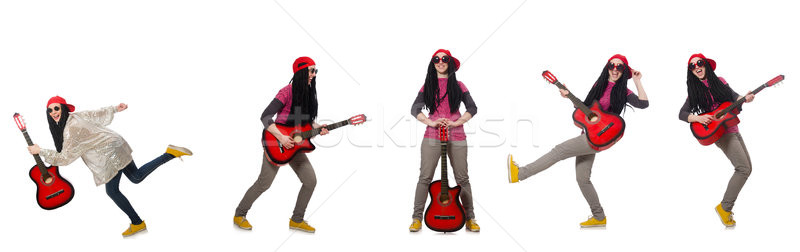 Hipste guitar player isolated on white Stock photo © Elnur