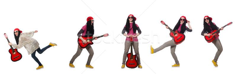 Stock fotó: Gitáros · izolált · fehér · nő · boldog · gitár