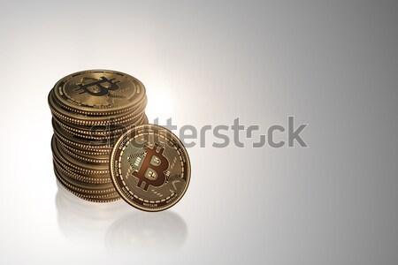 Bitcoins in blockchain cryptocurrency concept Stock photo © Elnur