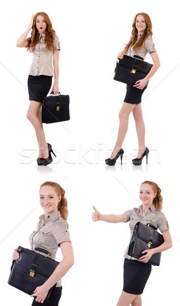 漂亮 年輕 僱員 公文包 孤立 白 商業照片 © Elnur