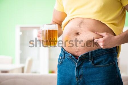 Fett fettleibig Mann halten Bier Diäten Stock foto © Elnur
