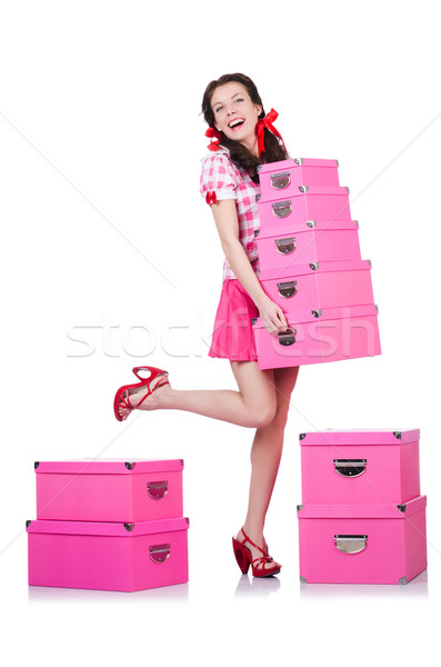 Mulher jovem armazenamento caixas branco mulher menina Foto stock © Elnur