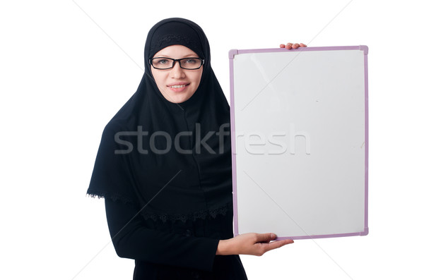 Muslim woman with blank board on white Stock photo © Elnur