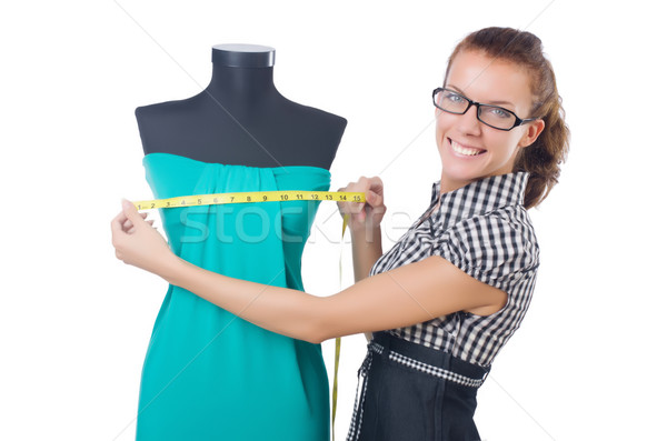 Woman tailor working on white background Stock photo © Elnur