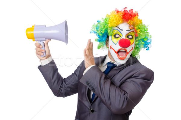 Biznesmen clown głośnik biały twarz człowiek Zdjęcia stock © Elnur