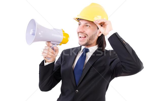 Man with helmet and loudspeaker on white Stock photo © Elnur