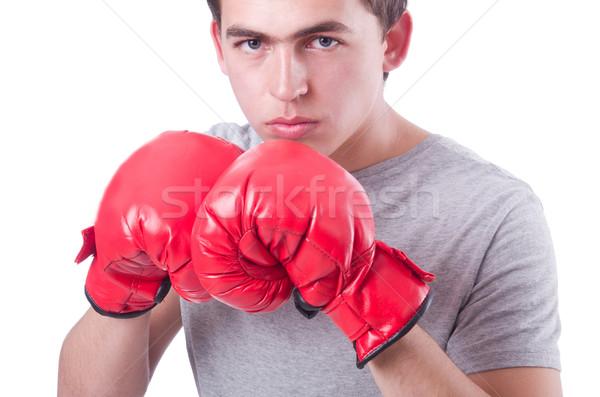 Grappig bokser geïsoleerd witte hand sport Stockfoto © Elnur