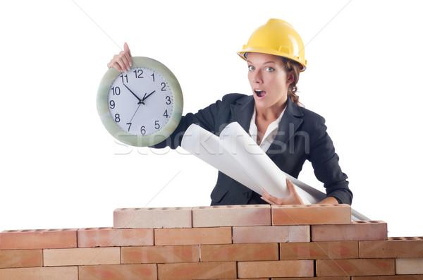 Donna clock bianco business costruzione Foto d'archivio © Elnur