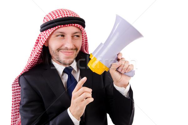 Arabes haut-parleur isolé blanche affaires Photo stock © Elnur