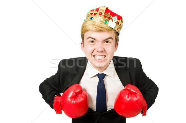 Engraçado empresário coroa luvas de boxe trabalhar fundo Foto stock © Elnur