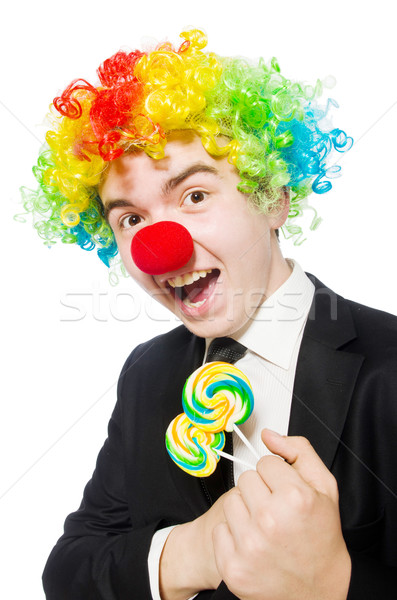 Clown with lollipop isolated on white Stock photo © Elnur
