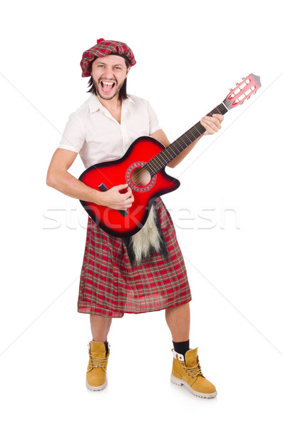 Stock photo: Scotsman playing guitar isolated on white