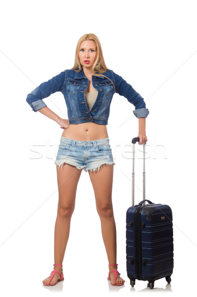 Woman preparing for long travel isolated on white Stock photo © Elnur