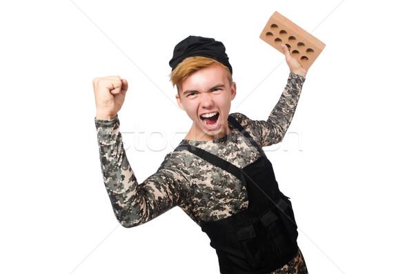 смешные солдата военных изолированный белый человека Сток-фото © Elnur
