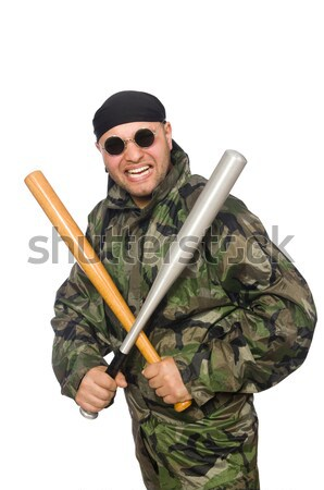 Military man with a gun isolated on white Stock photo © Elnur