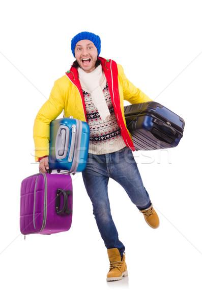 Człowiek zimą wakacje biznesmen podróży hat Zdjęcia stock © Elnur