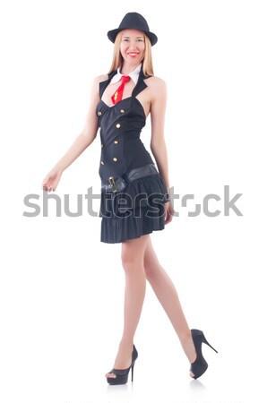 Stock fotó: Fiatal · nő · divat · modell · fekete · retro · klasszikus