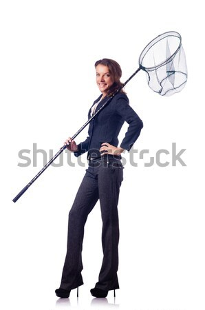 Woman with catching net isolated on white Stock photo © Elnur