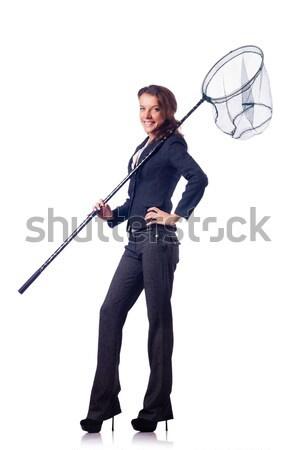 Nő net izolált fehér háttér póló Stock fotó © Elnur