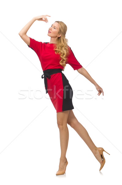 Beautiful lady in red black dress isolated on white Stock photo © Elnur